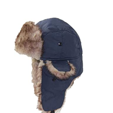 Mens Winter Hats Ear Flaps Russian Bomber Hat Warm Solid Color Men Cap Cozy  Fake Fur 0f535743886
