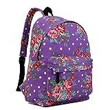 Miss Lulu Women's Butterfly Flower Polka Dot Retro Backpack Rucksack Medium Floral Purple