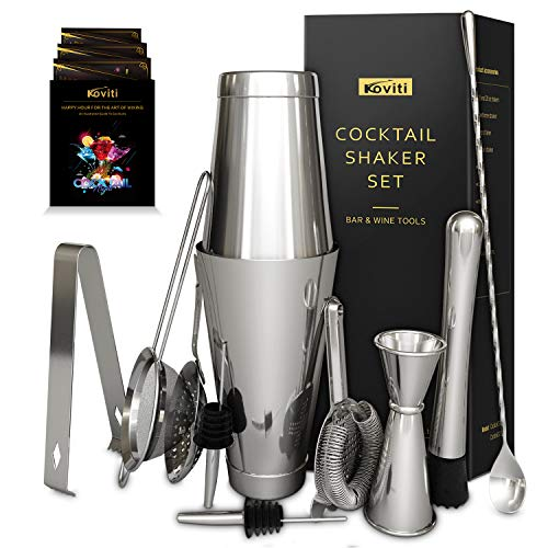 12 Piece Cocktail Shaker Set, Koviti Stainless Steel Bartender Kit - 18 and 28 oz Shakers,Cocktail Strainer Set,Cocktail Muddler&Spoon,Measuring Jigger,2 Liquor Pourers,Ice Tong and Recipes Booklet