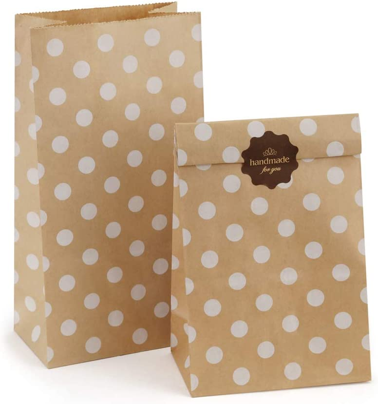 BagDream 4lb 5x2.95x9.45 Inches 100Pcs Paper Lunch Bags Kraft Paper Bags, Snack Bags, Bread Bag, Craft Bags, 100% Recycled Kraft Paper Brown Lunch Bags with White Dot