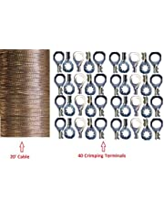 """20' (609cm) x 0.35"""" Copper Ground Strap Cable+ Do-It-Yourself Terminal Kit. Braided Wire"""