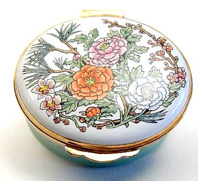 Enamel Box - Floral Oval -