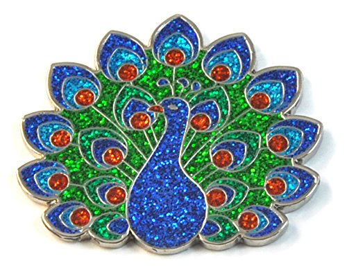 (Navika Glitzy Peacock Ball Marker with Magnetic Hat Clip)