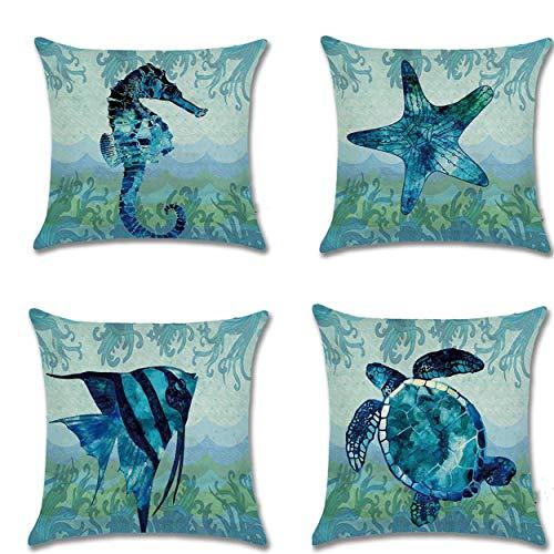 Unibedding Beach Throw Pillow Case, Ocean Sea Theme Decorative Ocean Beach Cotton Linen Coastal Cushion Cover, 4 Pack 18