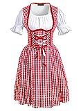 DJT Women's 3 Pcs Dirndl Serving Wench Bavarian Beer Girl Oktoberfest Adult Costume XXL Red