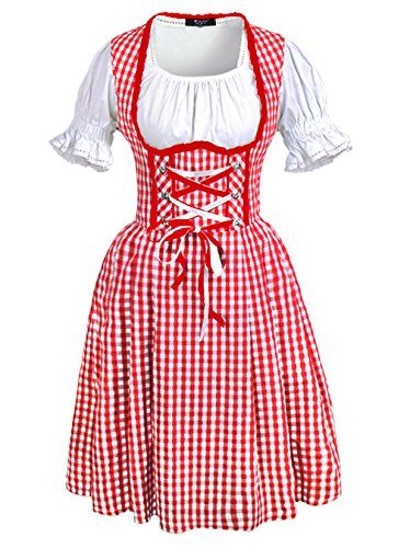[DJT Women's 3 Pcs Dirndl Serving Wench Bavarian Beer Girl Oktoberfest Adult Costume XXXL Red] (German Dress)