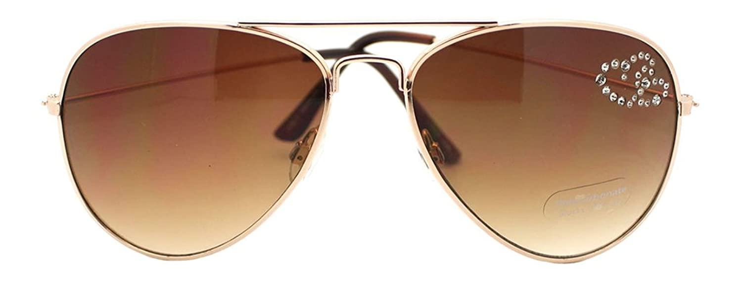 Brand-New Women's Rhinestone Lens Accent Aviator Sunglasses-Gold