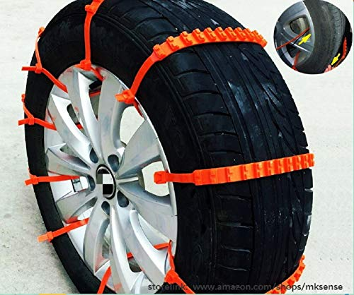 2nd Generation Easy Universal Fit Emergency Anti-Skid Mud Snow Survival Traction Multi-function Car Tire Chains for Pickup SUV Car Van ATV Jeep Honda Toyota Nissan VW Ford Mercede Benz BMW HTATMT Tyre (Snow Zip Ties For Tires)