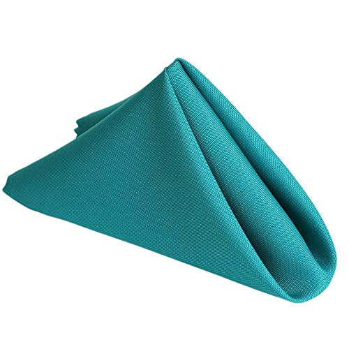 Stain Resistant Turquoise Lightweight Polyester Cloth Dinner Napkins - Washes Easily Non Iron - Thanksgiving Christmas Dinner Wedding Parties New Year Gift (TURQUOISE, Napkins 17