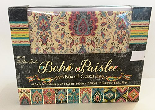 Boho Paislee Boxed Blank Note Cards with envelopes. 48 ct. by The Paper Studio