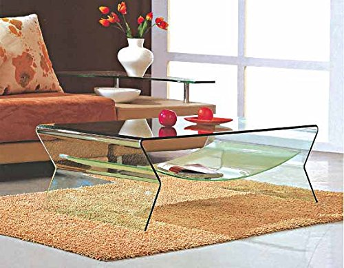 Creative Images International Glass Collection Bent Glass Coffee Table with Frosted Shelf, Clear