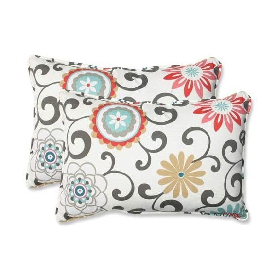 """Pillow Perfect Outdoor/Indoor Pom Play Peachtini Oversized Lumbar Pillows, 24.5"""" x 16.5"""", Blue, 2 Pack - Includes two (2) outdoor pillows, resists weather and fading in sunlight; Suitable for indoor and outdoor use Plush Fill - 100-percent polyester fiber filling Edges of outdoor pillows are trimmed with matching fabric and cord to sit perfectly on your outdoor patio furniture - patio, outdoor-throw-pillows, outdoor-decor - 510PTxXmG%2BL. SS570  -"""