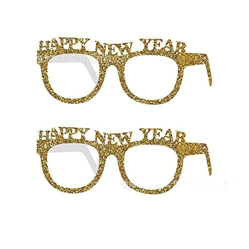 Miss.AJ 10 pcs Glitter Glasses for New Year,Party HAPPY NEW YEAR Eyeglasses Frame Fancy Photo Prop for New Year Eve Party Decor,