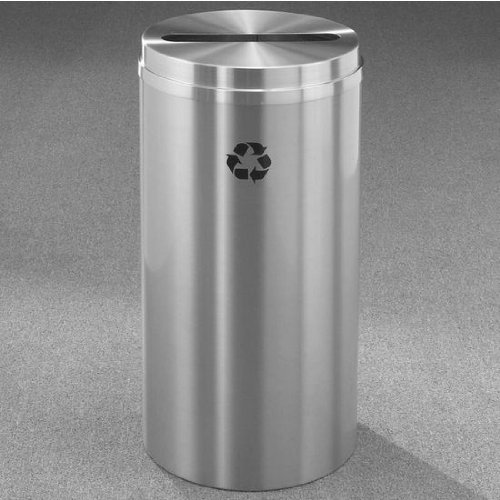 Glaro RecyclePro Satin Aluminum Cover Paper Recycling Receptacle, 33 Gal, 20 inch Dia x 35 inch H All Satin Aluminum
