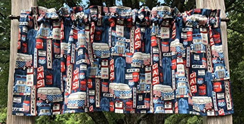Route 66 USA Flag American Road Trip Van Rt 66 Truck Garage Gasoline Tires Gas Can Air Icons Signs Handcrafted Curtain Valance