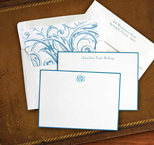 Hand Bordered Correspondence Cards - French Blue Hand Bordered Correspondence Cards - Set of 25-9655