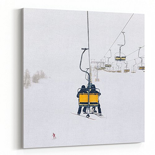Westlake Art Canvas Print Wall Art - Ski Pole on Canvas Stretched Gallery Wrap - Modern Picture Photography Artwork - Ready to Hang - 16x16in (x7x-f24-b12) - Edge Telemark Skis