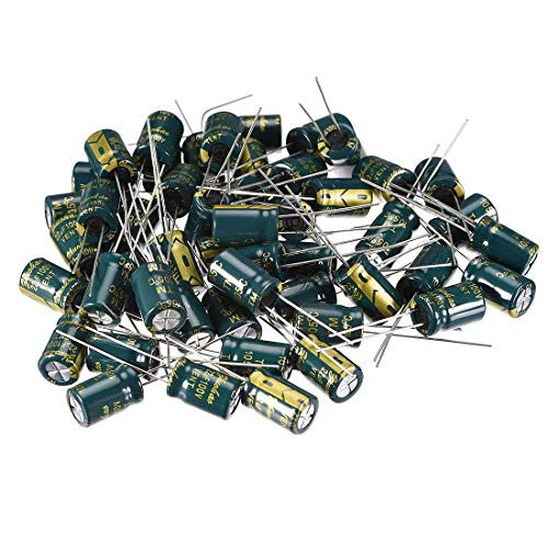 uxcell Aluminum Radial Electrolytic Capacitor Low ESR Green with 22uF 100V 105 Celsius Life 3000H 8 x 12 mm High Ripple Current,Low Impedance 50pcs ()