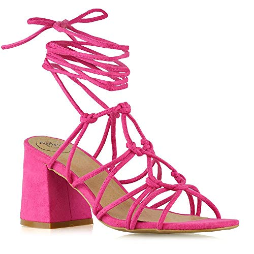 96c52d20ec4 ESSEX GLAM Womens Lace Up Sandals Ladies Low Mid Block Heel Strappy Caged  Heels Shoes Size