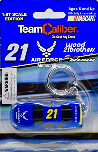 Team Caliber 2001 NASCAR - #21 Ricky Rudd - Air Force Die Cast Keychain - 1:87 Scale - Wood Brothers Racing - Collectible - Mint