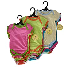 100% Cotton Onesies in Assorted Colours for Boys or Girls - 3 Pack or 5 Pack