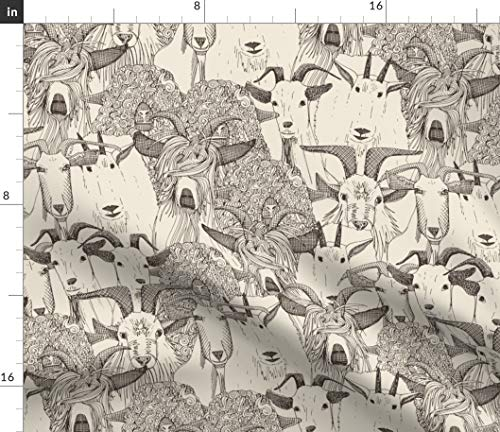 Spoonflower Goat Fabric - Hand Drawing Kid Nursery Farm Animal Goat Farm Animal Goat Mountain Farm Neutral Horns by Scrummy Printed on Petal Signature Cotton Fabric by The - Farm On Quilting The