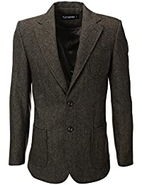 Mens Herringbone Wool Blazer Jacket with Elbow Patches