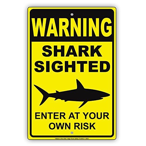 Street Sign Shark (Ballkleid Retro Metal Signs Warning Shark Sighted Enter At Your Own Risk With Graphic Dangerous Beach Marine Life Warning Alert Notice Tin Sign Gift Home Street Garage Door Decor)