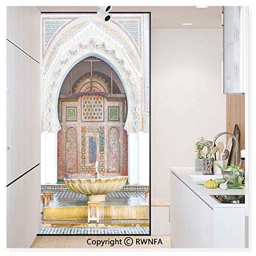 Decorative Window Film,Golden Historical Fountain Photo in Morocco Africa Antique Mousque Palace Heritage Static Cling Glass Film,No Glue/Anti UV Window Paper for Bathroom,Office,Meeting Room,Bedroom
