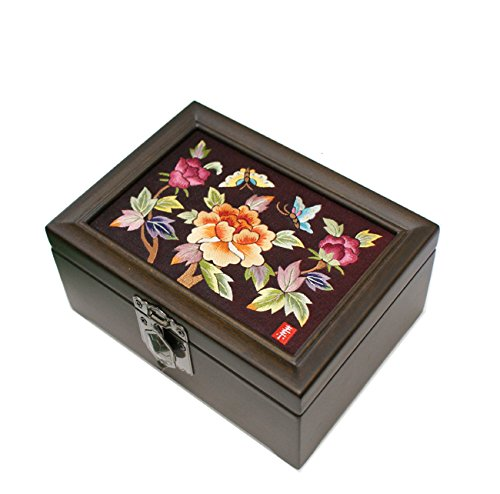 Embroidery Needlework Ten Peony Flower Design Jewelry Box Display Nacre Artian Handcrafted Jewellry Case by JMcore High Quality Jewelry Box