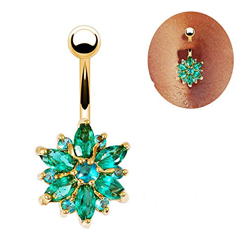 Phoenix b2c Sanwood Beautiful Flower Cubic Zirconia Belly Button Bar Barbell Navel Ring Body Piercing Jewelry (Golden + Green) ()