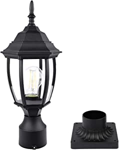 PARTPHONER Outdoor Post Light with Pier Mount Base, Waterproof Pole Lantern Light Fixture, Exterior Lamp Post Lantern Head with Clear Glass Panels for Garden, Patio, Pathway (6 Inch)