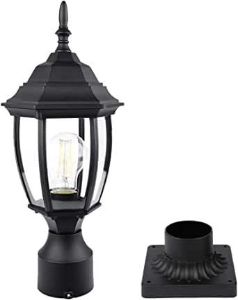 PARTPHONER Outdoor Post Light with Pier Mount, Waterproof Pole Lantern Light Fixture, Exterior Lamp Post Lantern Head with Clear Glass Panels for Garden, Patio, Pathway (6 Inch)
