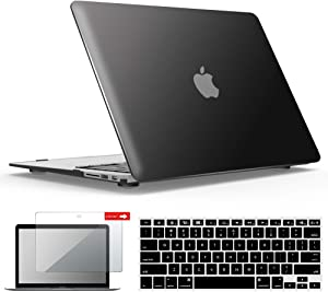 IBENZER MacBook Air 13 Inch Case A1466 A1369, Hard Shell Case with Keyboard & Screen Cover for Apple Mac Air 13 Old Version 2017 2016 2015 2014 2013 2012 2011 2010, Black, A13BK+2