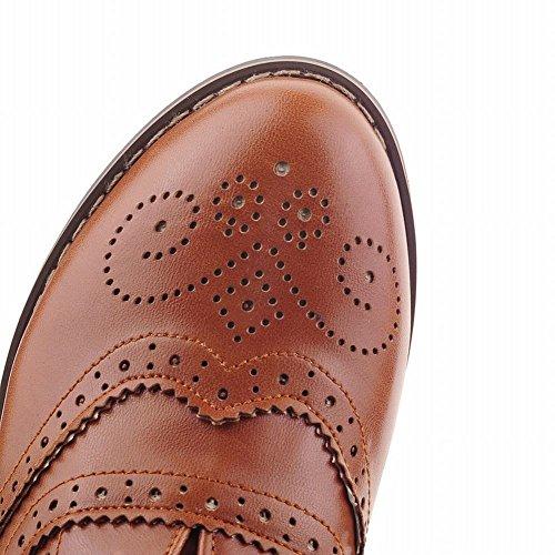 Fashion Show Women's Chunky Shoes Oxfords Shine Low Brown Heel qrrxwE4R