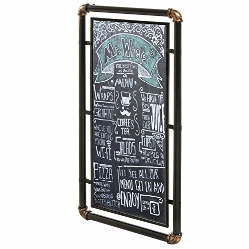 Style Chalkboard - Industrial Style Erasable Chalkboard, Message Board Sign with Modern Metal Pipe Frame, Black