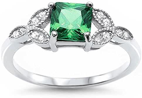 Princess Simulated Green Emerald & Cubic Zirconia Fashion .925 Sterling Silver Ring Sizes 5-11