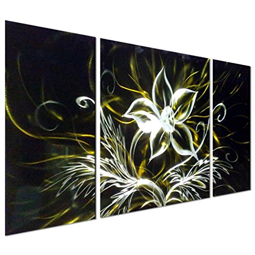 "Pure Art Stunning Night Flower Abstract Aluminum Metal Wall Art, Set of 3 yellow black and silver Panels - Enhancing Decorative Sculpture for your home / business - 50"" x 24"" by Pure Art"