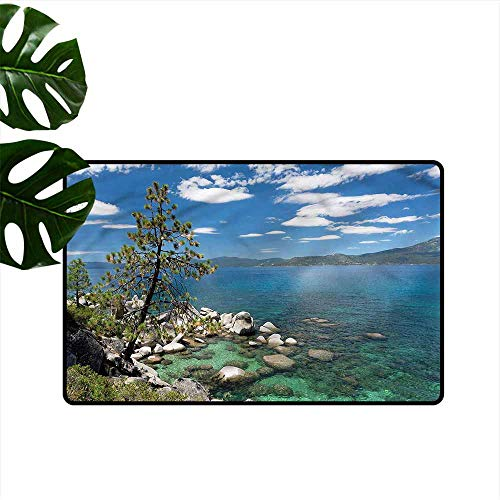 Entrance Door mat Nature Lake Tahoe Tree Rocks Clouds Suitable for Outdoor and Indoor use W16 xL24
