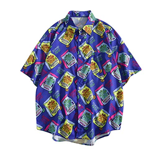 Shirts Hawaiian Short Sleeve Tropical Button Down Summer Fashion Casual Beach Tops Loose Casual Blouse Men (XL,5- -