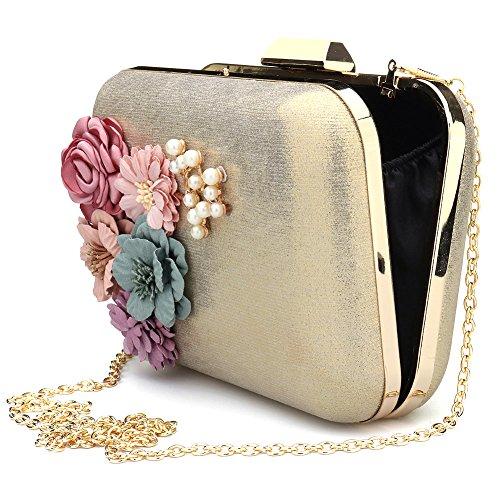 Women Beaded Purses Flower Leather Gold Envelope Clutches Wallet Handbag Bags Evening Pearl rrfnZBA