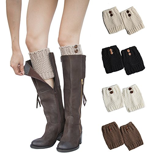 My Decor 4 Pairs Women Boot Cuffs Crochet Knitted Boots Socks Short Leg Warmers, Style ()
