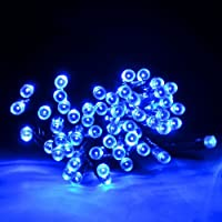 M&T Tech Solar Powered 100 LED String Fairy Lights For Outdoor, Patio, Garden, Lawn, Christmas tree, Party, Wedding(Blue) by M&T Tech