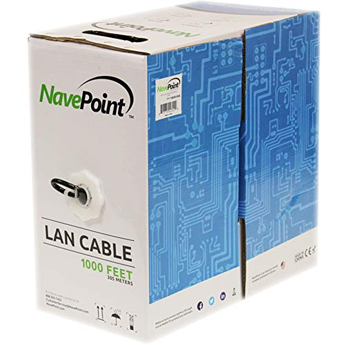 (NavePoint CAT6 1000FT UTP Cable Solid 23AWG Black 550MHz Network Ethernet Bulk Wire LAN)