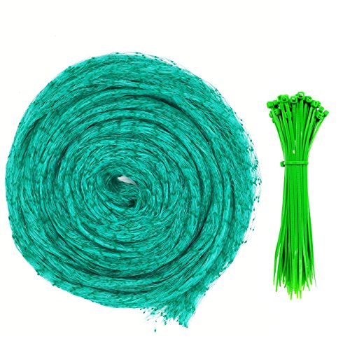 Senneny Bird Netting, 33Ft x 13Ft Anti-Bird Netting 100 Pcs Nylon Cable Ties, Green Garden Netting Protecting Plants Fruit Trees from Rodents Birds Deer by Senneny (Image #1)