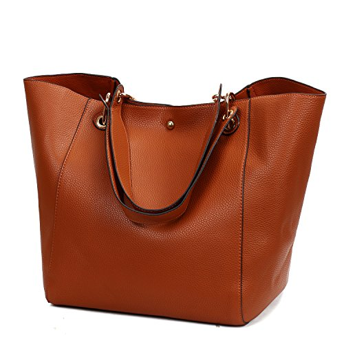Obosoyo Women's Waterproof Handbags Ladies Synthetic Leather Tote Shoulder Bags Fashion Travelling Mommy Soft Hot Purse Brown