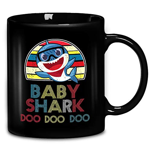 Retro Vintage Baby Sharks Doo Doo Song Lyrics Gift For Shark Lovers, Kids, Newborn Baby, New Dad, Dad To Be, Pregnant Coffee Mug 11oz & 15oz Gift Black Tea Cups -