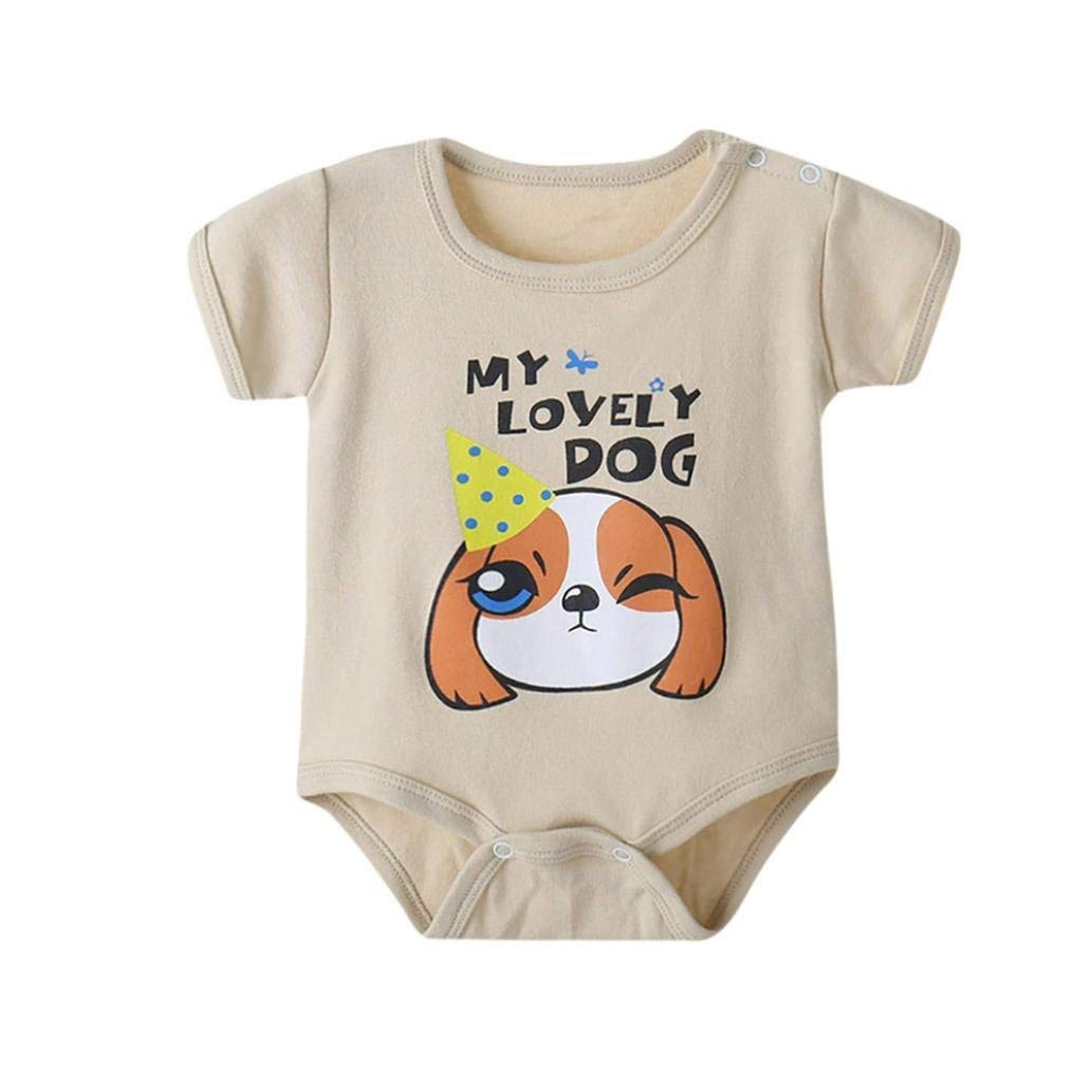 Junson Sleepsuits Newborn Infant Baby Boys Girls Cartoon Animals Print Romper Home Pajamas for 0-12 Months for You (Size : 6-12 Months|Beige)