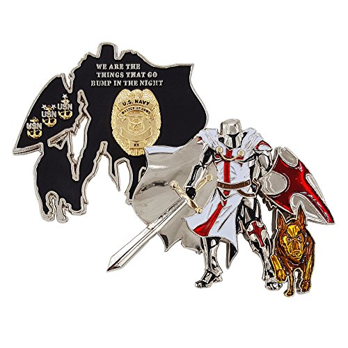 USN Challenge Coin, United States Navy Master-at-Arms K9 Unit Challenge Coin, Knight-in-Armor with K9 Dog ()