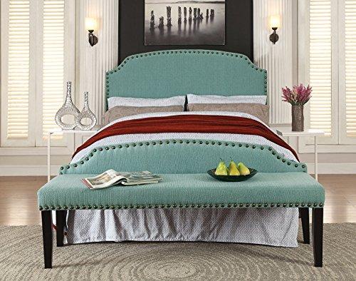 Furniture of America 2 Piece Heiden Modern Headboard with Bench Set, Full/Queen, Light Blue -